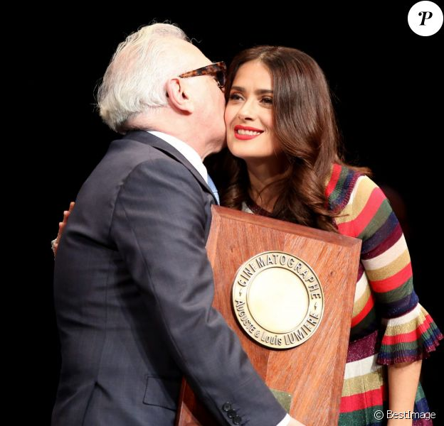 Martin Scorsese et Salma Hayek - Remise du 7e Prix Lumière à Martin Scorsese au Palais des Congrès de Lyon, lors du Festival Lumière le 16 octobre 2015.