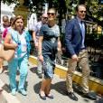 La princesse Victoria, enceinte, et le prince Daniel de Suède en visite officielle en Colombie, à Carthagène des Indes, le 22 octobre 2015