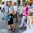 La princesse Victoria, enceinte, et son mari le prince Daniel de Suède en visite officielle en Colombie, à Carthagène des Indes, le 22 octobre 2015