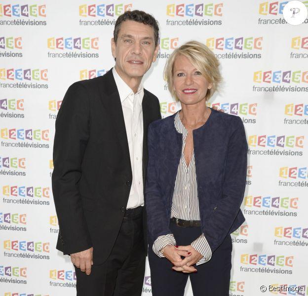 Marc Lavoine, Sophie Davant - Conférence de presse du Téléthon 2015, à France Télévisions à Paris le 4 novembre 2015. Le Téléthon 2015 aura lieu le 4 et le 5 décembre et le parrain de cette édition sera Marc Lavoine.