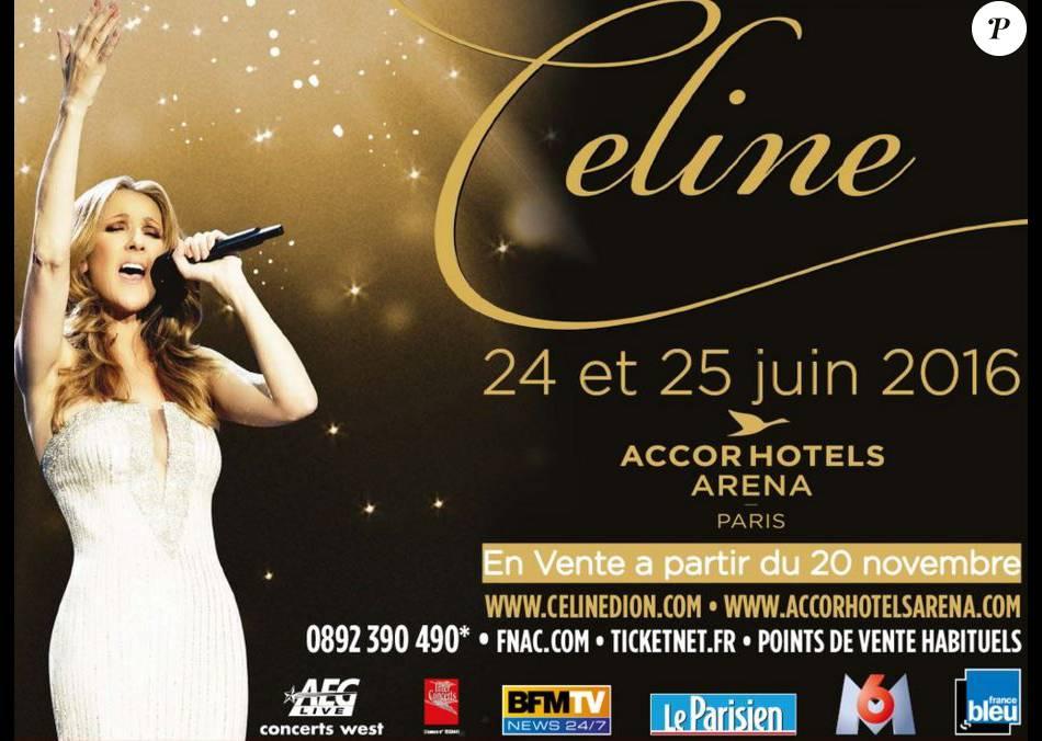 Affiche Concert affiche du concert de céline dion à paris - purepeople