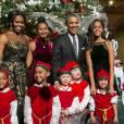 Michelle, Sasha, Barack et Malia Obama à Washington. Le 14 décembre 2014.