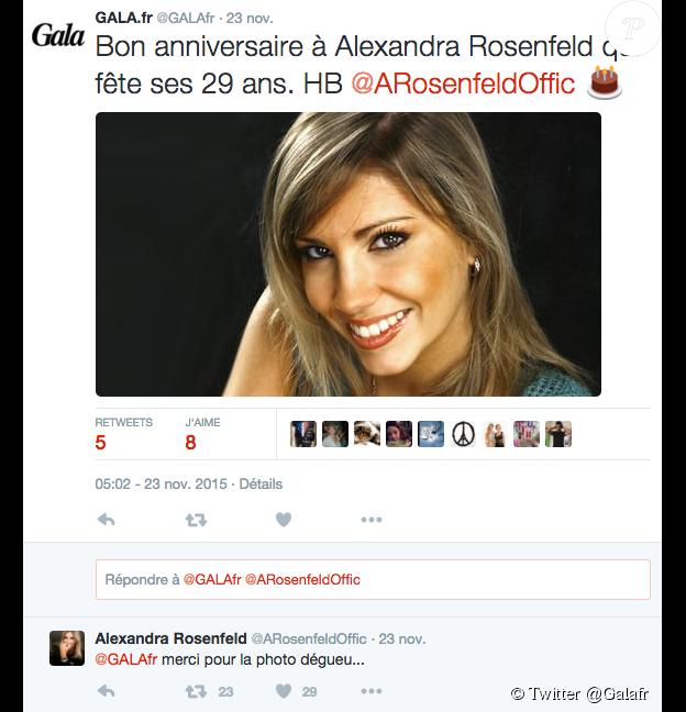 Gala souhaite un joyeux anniversaire à Alexandra Rosenfeld... qui leur reproche leur choix de photo, le 23 novembre 2015.