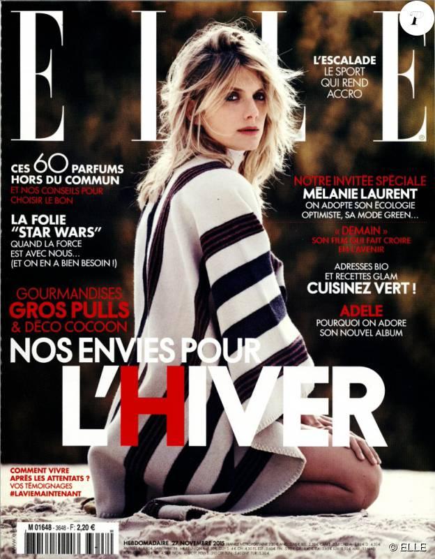 Mélanie Laurent en couverture du magazine ELLE, hebdomadaire du 27 novembre 2015.