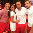 Mark Salling, Lea Michele, Darren Criss et Chord Overstreet sur le tournage de la 6e saison de Glee, le 19 février 2015