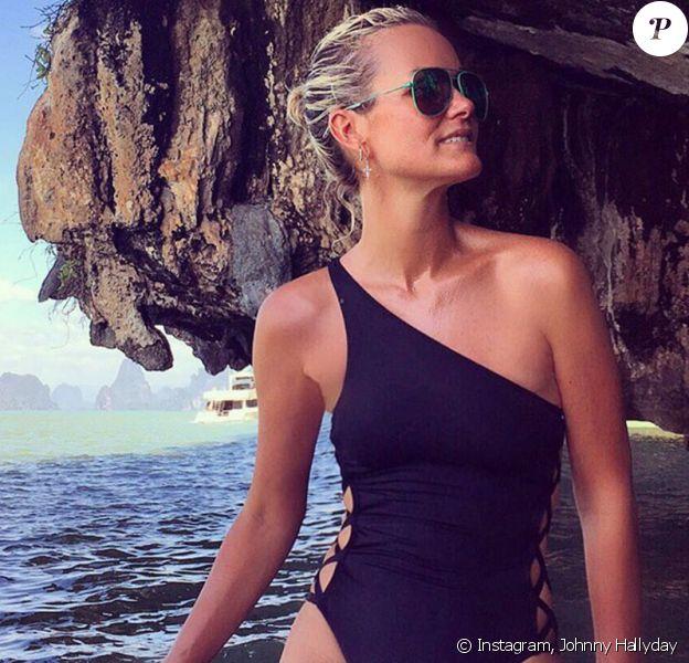 Laeticia Hallyday, immortalisée par Johnny, en route vers l'île de James Bond en Thaïlande, démcebre 2015.