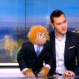 Jeff Panacloc et Jean-Marc, invités du JT d'Audrey Crespo-Mara sur TF1, le vendredi 1er janvier 2016.