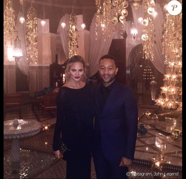 Chrissy Teigen et John Legend fêtent le Nouvel An à Marrakech. Photo publiée le 1er janvier 2016.