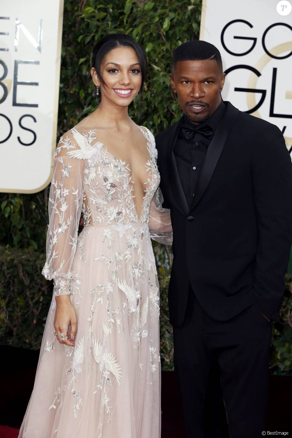 Jamie Foxx et sa fille Corinne - 73ème cérémonie annuelle des Golden Globe Awards à Beverly Hills, le 10 janvier 2016.
