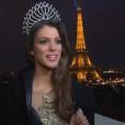 """Iris Mittenaere (Miss France 2016) dans l'émission """"Sept à Huit"""", le 20 décembre 2015."""