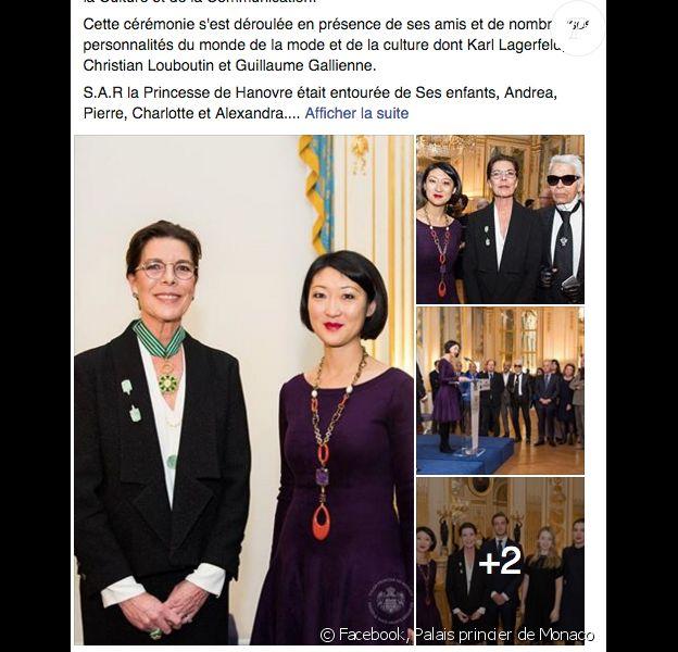 La princesse Caroline de Hanovre a reçu le 21 janvier 2016 à Paris les insignes de commandeur de l'ordre des Arts et des Lettres des mains de la ministre de la Culture et de la Communication, Fleur Pellerin, en présence de ses enfants Andrea, Charlotte et Pierre Casiraghi et la princesse Alexandra de Hanovre.
