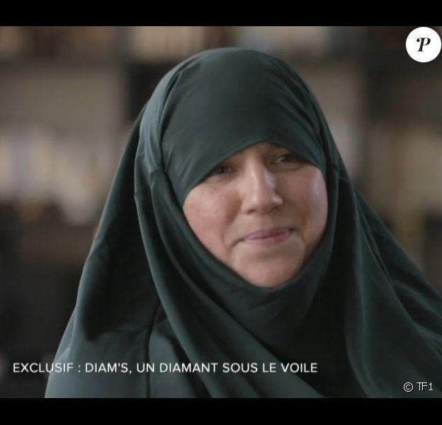 L'ex-chanteuse Mélanie Georgiades, alias Diam's, interviewée dans le magazine d'information Sept à huit sur TF1, le dimanche 24 mai 2015.