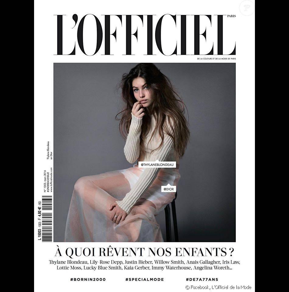 Thylane Blondeau en couverture de L'Officiel de mars 2016 (n°1003), en kiosque le 25 février.