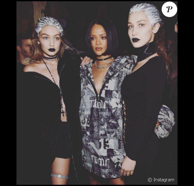 Les soeurs Hadid entourent la créatrice lors du défilé de Rihanna, Fenty x Puma, à New York durant la Fashion-Week, le 12 février 2016