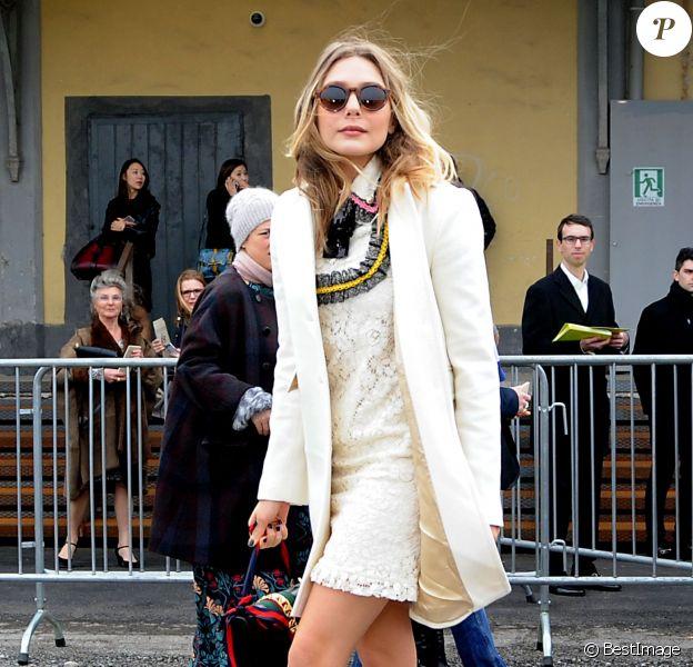 Elizabeth Olsen arrive au Via Valtellina, 7 pour assister au défilé Gucci. Milan, le 24 février 2016.
