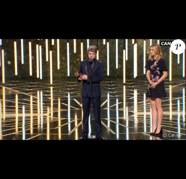 Rod Paradot, César du meilleur espoir masculin pour La Tête haute. Son prix lui a été remis par Louane - 26 février 2016