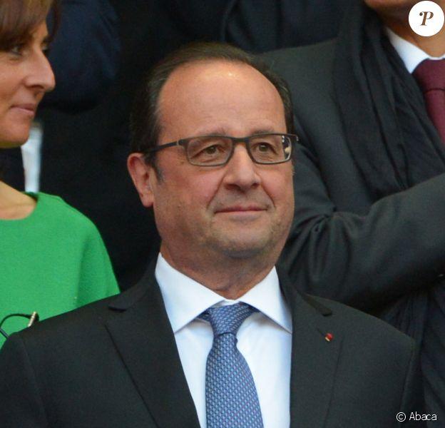 François Hollande au Stade de France, pour la finale du Top 14 le 13 juin 2015.