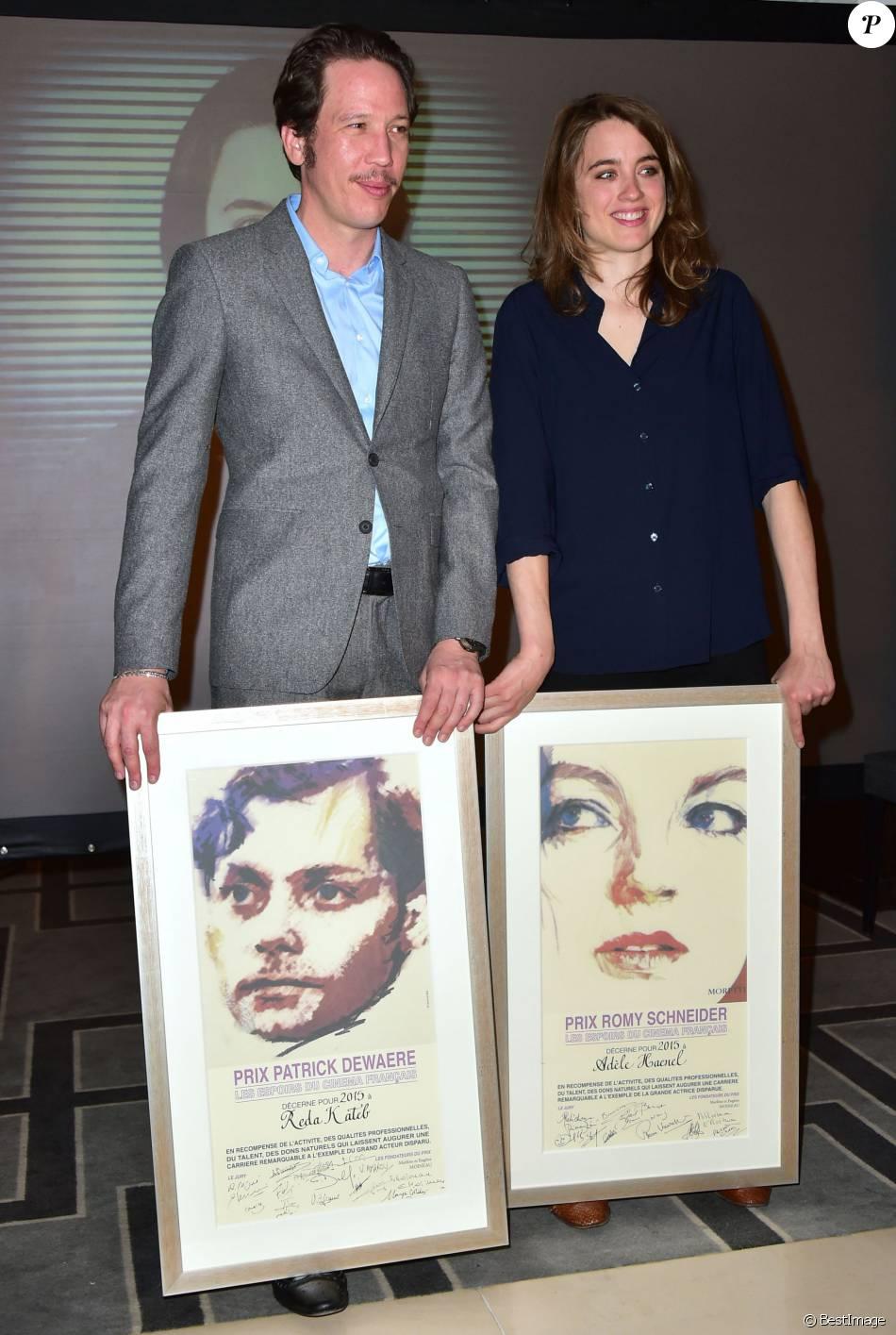 Reda Kateb (gagnant du Prix Patrick Dewaere 2015) et Adèle Haenel (gagnante du Prix Romy Schneider 2015) - 34e édition des Prix Romy Schneider et Patrick Dewaere au Sofitel Paris Le Faubourg à Paris, le 13 avril 2015.