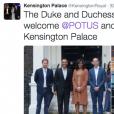 Le duc et la duchesse de Cambridge et le prince Harry ont reçu Barack Obama et Michelle Obama au palais de Kensington, leur résidence à Londres, le 22 avril 2016 pour un dîner privé dans le cadre de leur visite d'Etat au Royaume-Uni. Photo Twitter @KensingtonRoyal