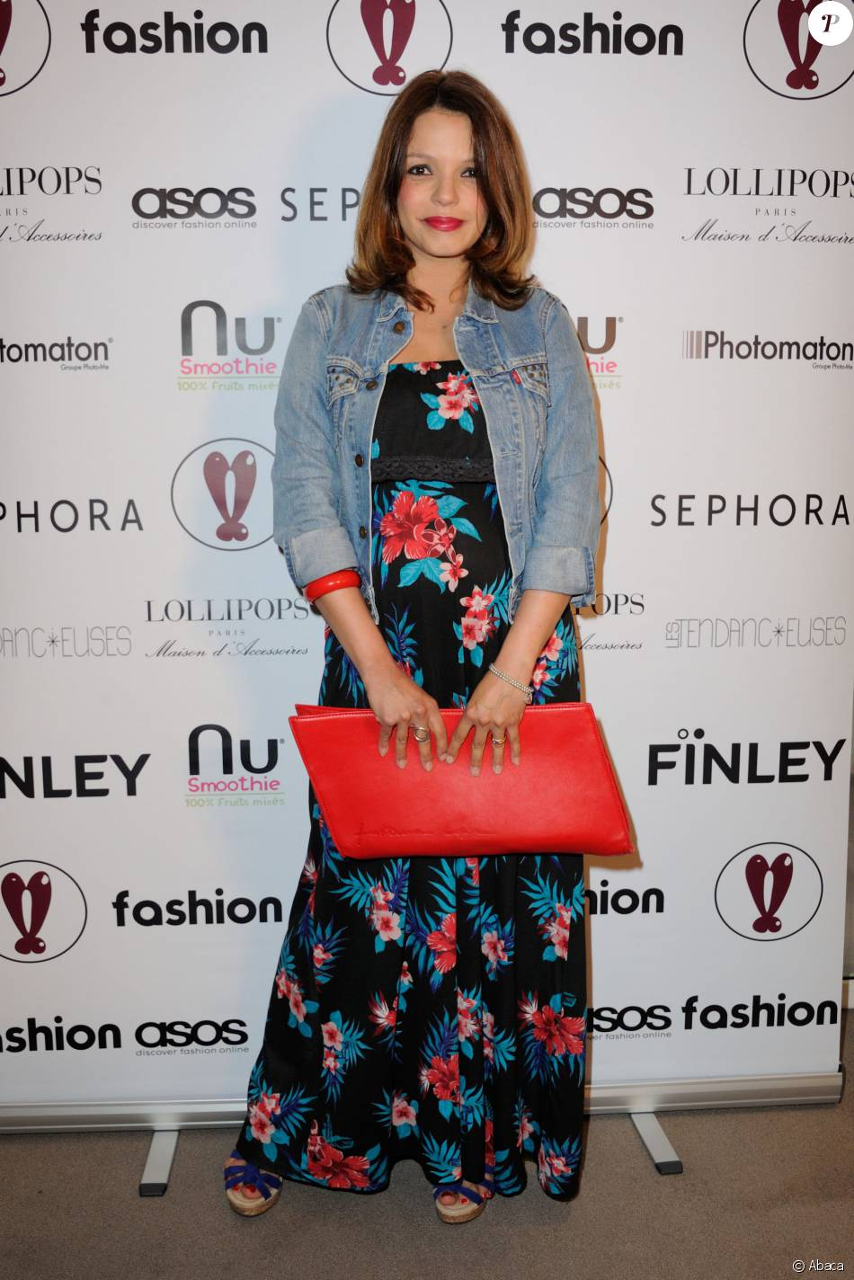 Severine Ferrer, enceinte,  à la soirée Fashion Ambassador Summer 2016, pour mettre en avant les penderies de l'été des ambassadeurs ASOS, au showroom Hedgren a Paris, France, le 12 mai 2016.