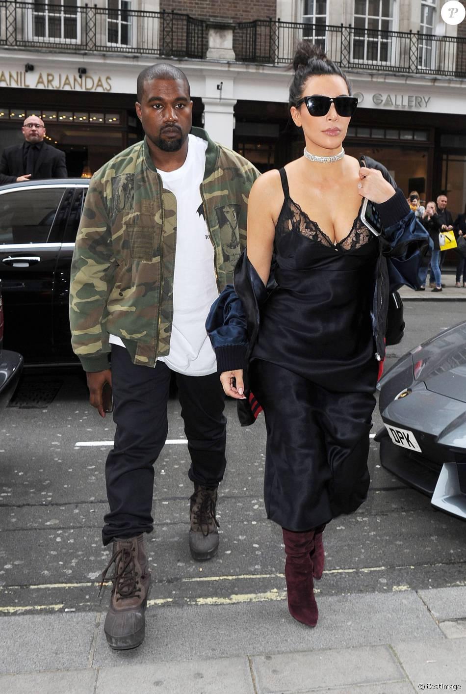"""Kim Kardashian et son mari Kanye West arrivent au restaurant """"C"""" dans le quartier de Mayfair à Londres, le 21 mai 2016."""