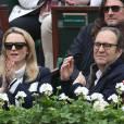 Jacques-Antoine Granjon, Delphine Arnault et Xavier Niel dans les tribunes de la finale homme des internationaux de France de Roland-Garros à Paris le 5 juin 2016. © Moreau-Jacovides / Bestimage