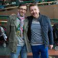 """Exclusif - Bruno Guillon et Florian Gazan au concert des 10 ans de l'association """"Tout le monde contre le cancer"""" à Disneyland Paris. Marne-la-Vallée, le 12 juin 2016."""