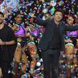 """Exclusif - Slimane, à gauche, et Patrick Bruel lors de l'émission de télévision pour TF1 """"La Chanson de l'Année 2016"""" à Nîmes le 17 juin 2016. © Bruno Bebert / Bestimage"""