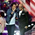 """Exclusif - Amir, à gauche, et Pascal Obispo lors de l'émission de télévision pour TF1 """"La Chanson de l'Année 2016"""" à Nîmes le 17 juin 2016. © Bruno Bebert / Bestimage"""
