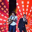 """Exclusif - Vianney, à gauche, et Marc Lavoine lors de l'émission de télévision pour TF1 """"La Chanson de l'Année 2016"""" à Nîmes le 17 juin 2016. © Bruno Bebert / Bestimage"""