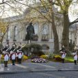 Commémorations du 11 novembre au pied de la statue de Georges Clémenceau