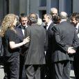 Jean-Pierre Jouyet, Manuel Valls et les membres de la famille de Michel Rocard lors de la cérémonie en hommage à Michel Rocard au Temple de l'Eglise Protestante Unie de l'Etoile à Paris, le 7 juillet 2016. © Alain Guizard/Bestimage