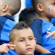 Ludivine Payet (la femme de Dimitri Payet) et ses fils Milan et Noa lors du match de l'Euro 2016 Allemagne-France au stade Vélodrome à Marseille, France, le 7 juillet 2016. © Cyril Moreau/Bestimage  Wags during the UEFA Euro 2016 soccer match, Germany vs France at Velodrome stadium in Marseille, France on July 7th, 2016.07/07/2016 - Marseille
