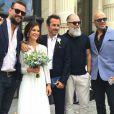 Fabrice Laffont et Louise : Les jeunes mariés avec Pascal Obispo lors de leur mariage, le 11 juillet 2016