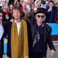 """Les Rolling Stones Charlie Watts, Ronnie Wood, Mick Jagger et Keith Richards au vernissage de l'exposition """"Exhibitionism"""" consacrée aux Rolling Stones à la Saatchi Gallery de Londres le 4 avril 2016. © CPA / Bestimage"""