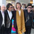 """Charlie Watts, Ronnie Wood, Mick Jagger, Keith Richards - Arrivée des people au vernissage de l'exposition """"Exhibitionism"""" consacrée aux Rolling Stones à la Saatchi Gallery de Londres, le 4 avril 2016."""