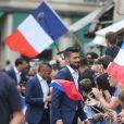 Olivier Giroud et l'équipe de France de football étaient reçus à l'Elysée à Paris le 11 juillet 2016, au lendemain de leur défaite en finale de l'Euro.