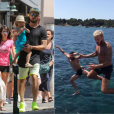 A gauche : Olivier Giroud avec sa femme Jennifer et leur fille Jade à Saint-Tropez le 19 juillet 2016. A droite : Olivier Giroud et M. Pokora font une bombe, le 21 juillet.