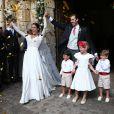 Exclusif - Mariage de Frédéric Giscard d'Estaing, fils d'Henri Giscard d'Estaing et petit-fils de Valéry Giscard d'Estaing, et d'Eléonore Pineau à l'abbaye de Thiron-Gardais (Eure-et-Loir), le 23 juillet 2016.