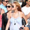 Semi-exclusif - No Web No Blog - Lindsay Lohan en vacances avec des amis sur un yacht en Sardaigne, après sa rupture avec Egor Tarabasov en Italie, le 26 juillet 2016.26/07/2016 -