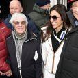 """Bernie Ecclestone et sa femme Fabiana, Niki Lauda - People assistent à la course de ski """"Hahnenkamm"""" à Kitzbuehel en Autriche le 23 janvier 2016."""