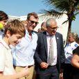 Les princes Nikolai et Felix avec leur père le prince Joachim. La famille royale de Danemark, sous la houlette du prince Frederik, inaugurait le 2 août 2016 le pavillon danois Heart of Danemark sur la plage d'Ipanema, à Rio de Janeiro, installé dans le cadre des Jeux olympiques.