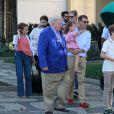 Joachim de Danemark avec Athena, Nikolai et Felix. La famille royale de Danemark, sous la houlette du prince Frederik, inaugurait le 2 août 2016 le pavillon danois Heart of Danemark sur la plage d'Ipanema, à Rio de Janeiro, installé dans le cadre des Jeux olympiques.