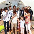 Le prince Nikolai, le prince Felix, la princesse Athena et le prince Henrik avec leurs parents le prince Joachim et la princesse Marie. La famille royale de Danemark, sous la houlette du prince Frederik, inaugurait le 2 août 2016 le pavillon danois Heart of Danemark sur la plage d'Ipanema, à Rio de Janeiro, installé dans le cadre des Jeux olympiques.