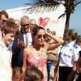 Le prince Felix, la princesse Athena et le prince Henrik avec leurs parents le prince Joachim et la princesse Marie. La famille royale de Danemark, sous la houlette du prince Frederik, inaugurait le 2 août 2016 le pavillon danois Heart of Danemark sur la plage d'Ipanema, à Rio de Janeiro, installé dans le cadre des Jeux olympiques.