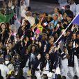 Teddy Riner, porte-drapeau pour la France - Cérémonie d'ouverture des JO à Rio, au Brésil, le 5 août 2016