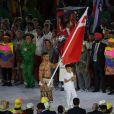 Pita Nikolas Taufatofua porte-drapeau pour le Tonga - Cérémonie d'ouverture des JO à Rio, au Brésil, le 5 août 2016