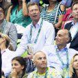 Le grand-duc Henri de Luxembourg assiste à la finale du 200m papillon hommes aux Jeux Olympiques (JO) de Rio 2016 à Rio de Janeiro, Brésil, le 9 août 2016.