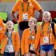 Le roi Willem Alexander, et ses filles les princesses Amalia, Alexia et Ariane - La famille royale des Pays-Bas lors de la finale femmes de gymnastique artistique durant les Jeux Olympiques (JO) 2016 de Rio de Janeiro. Le 15 août 2016 15/08/2016 - Rio de Janeiro