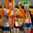 Les princesses Amalia, Alexia et Ariane - La famille royale des Pays-Bas lors de la finale femmes de gymnastique artistique durant les Jeux Olympiques (JO) 2016 de Rio de Janeiro. Le 15 août 2016 15/08/2016 - Rio de Janeiro